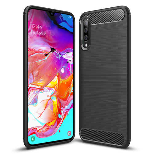 Flexi Slim Carbon Fibre Case for Samsung Galaxy A70 - Brushed Black